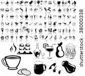 food set of black sketch. part... | Shutterstock .eps vector #38000338