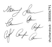 set of signatures isolated on a ... | Shutterstock .eps vector #380006791