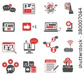 red black icons set with... | Shutterstock .eps vector #380007064