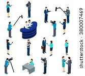 journalists at work isometric... | Shutterstock .eps vector #380007469