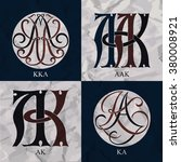 vintage monograms   4 sets  ... | Shutterstock .eps vector #380008921