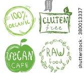 set of badges  emblems  healthy ... | Shutterstock .eps vector #380013337