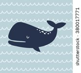 cute whale vector print | Shutterstock .eps vector #380017771