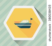 yacht flat icon with long...