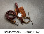 men's accessories with brown... | Shutterstock . vector #380043169