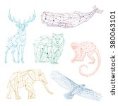 low poly vector animals set  ... | Shutterstock .eps vector #380063101