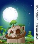 stonehouse on fullmoon night... | Shutterstock .eps vector #380072731