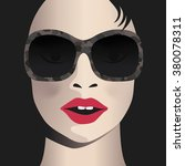 glamor girl wears sunglasses.... | Shutterstock .eps vector #380078311