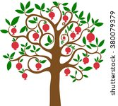 pomegranate tree  isolated on... | Shutterstock .eps vector #380079379