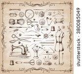 set of needlework   scissors ... | Shutterstock .eps vector #380085049