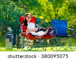 pretty woman spending time... | Shutterstock . vector #380095075