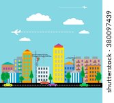 city with houses  cars  crane... | Shutterstock .eps vector #380097439