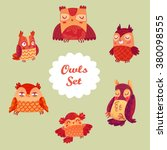 vector owls set. collection of... | Shutterstock .eps vector #380098555