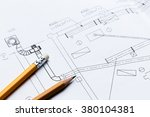 architectural blueprints close... | Shutterstock . vector #380104381