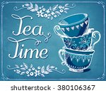 illustration tea time with cute ... | Shutterstock .eps vector #380106367