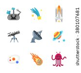 nine stylish space icons | Shutterstock .eps vector #380107681