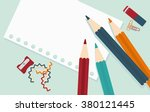 workplace illustrator. crayons  ... | Shutterstock .eps vector #380121445