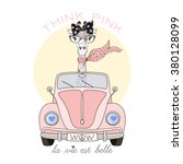 Cute Giraffe Girl Driving Pink...