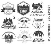 vector set of camping labels in ...