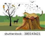 marten sitting on the tomb.... | Shutterstock .eps vector #380143621