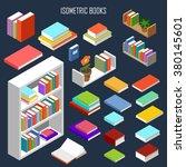 vector isometric books  | Shutterstock .eps vector #380145601