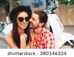 hipster young couple traveling... | Shutterstock . vector #380146324