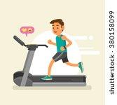 a man running on a treadmill.... | Shutterstock .eps vector #380158099