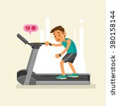 an exhausted man on a treadmill.... | Shutterstock .eps vector #380158144