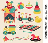 old retro kid toys and circus... | Shutterstock .eps vector #380160505