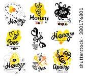 bee logo. sweet honey logo....   Shutterstock .eps vector #380176801