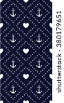 Navy Anchor And Hearts Pattern.
