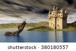 Stock photo loch ness monster and scottish castle computer generated d illustration 380180557