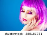 beautiful woman wearing... | Shutterstock . vector #380181781