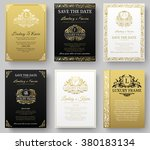 set of gold luxury flyer pages... | Shutterstock .eps vector #380183134