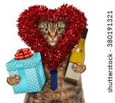 funny cat with presents. happy... | Shutterstock . vector #380191321