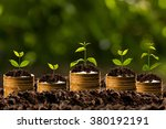 money growing in soil  ... | Shutterstock . vector #380192191