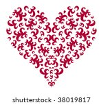 heart with floral swirl... | Shutterstock .eps vector #38019817