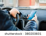 the driver operates car looking ... | Shutterstock . vector #380203831