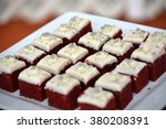 Beautiful presentation of gourmet and tasty desserts:  Red Velvet - stock photo