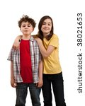 girl and boy standing isolated... | Shutterstock . vector #38021653