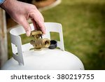 brass valve closed on a propane ... | Shutterstock . vector #380219755