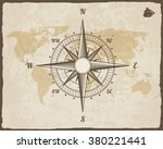 vintage nautical compass. old... | Shutterstock .eps vector #380221441