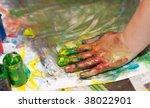 little children hands doing... | Shutterstock . vector #38022901