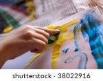 little children hands doing... | Shutterstock . vector #38022916
