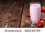 fresh made strawberry milk on... | Shutterstock . vector #380230789