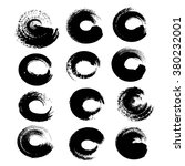 black circle textured strokes...   Shutterstock .eps vector #380232001