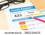 poor credit score report with... | Shutterstock . vector #380234635