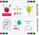 set of 6 cute creative cards... | Shutterstock .eps vector #380234989