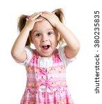 Amazed Or Surprised Child Girl...