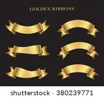 ribbon banner set.golden... | Shutterstock .eps vector #380239771